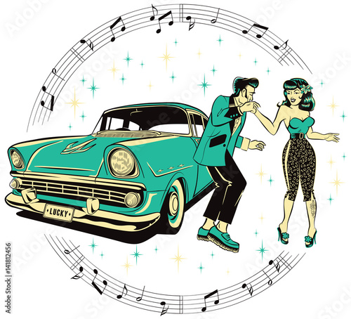 Photographie  Teddyboy and a rockabilly pinup chick dancing in front of a hotrod isolated on a