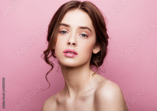 Beauty cute fashion model girl with natural make up