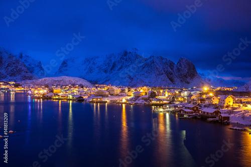 Keuken foto achterwand Donkerblauw Reine by night, Lofoten, Norway, Europe