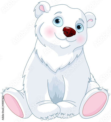 Stickers pour porte Magie Sitting Polar Bear
