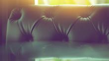 Black Leather Sofa, Detail Close Up.