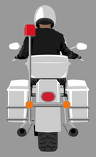 White Classic Police Patrol Heavy Motorcycle With Clear Front Windshield Riding By Police Officer Wearing White Helmet Back View Graffiti Street Art Style Isolated Vector Illustration