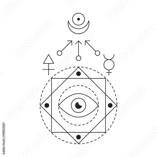 c8337b4d157bc Symbol of alchemy and sacred geometry. Linear character illustration for  lines tattoo on the white isolated background. Three primes: spirit, soul,  ...