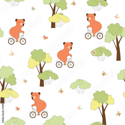 Cotton fabric Seamless background with bear on bicycle
