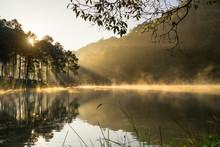 Beautiful Morning View At Pang Ung Lake, Pang Ung Mae Hong Son Province, North Of Thailand,