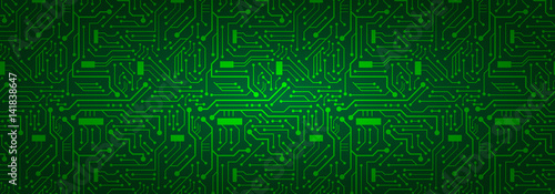 Fotografiet  Circuit Board Banner Background (green)