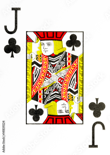 Photo  large index playing card jack of clubs