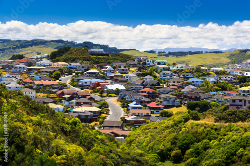 Keuken foto achterwand Nieuw Zeeland beautiful neigborhood with houses. Location: New Zealand, capital city Wellington