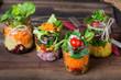 canvas print picture - Salat im Glas - Shaking Salad - Trend Essen - Fasten & Diät