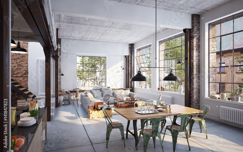 Fotografija  View inside luxury industrial Loft apartment - Blick in Loft bei Sonnenlicht