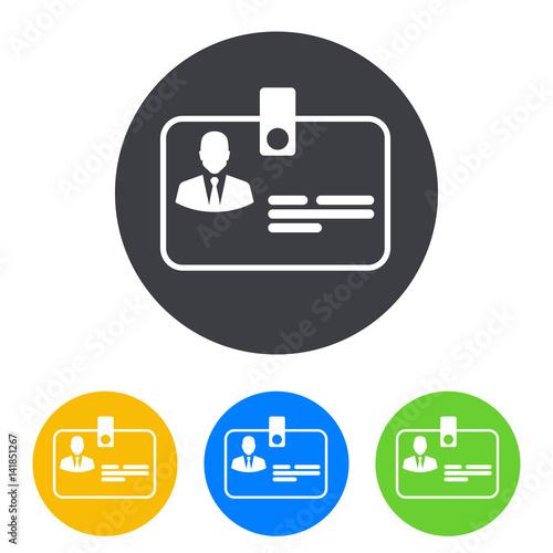 Fotografía  Icono plano identificacion horizontal en circulo varios colores