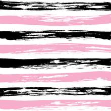Pink Black Striped Pattern Vector.