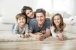 canvas print picture - familie zuhause