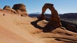 timelapse at delicate arch in the afternoon showing shadow movement