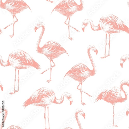 Keuken foto achterwand Flamingo Seamless pattern with hand drawn flamingoes