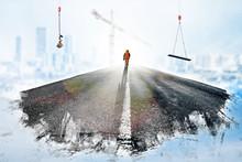 Chantier Construction Travaux Route Ville Avenir Aménagement Territoire Ouvrier Grue Immeuble Logement Paris Grande Couronne Entretien Travail équipe Savoir-faire