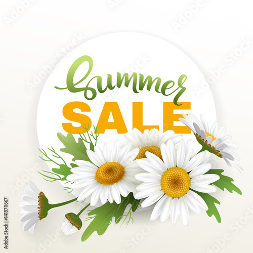 Foto op Canvas Madeliefjes Summer handmade lettering and bouquet realistic daisy, camomile flowers on white background. Sale composition. Vector illustration card