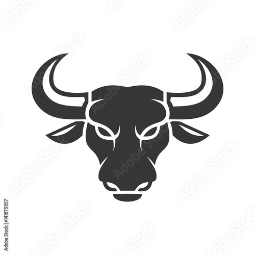 Fotografie, Obraz  Bull Face Logo. Business Icon on a White Background. Vector