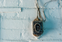 Old Vintage Damaged Doorbell On Wall