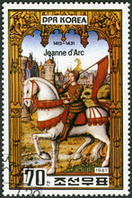 NORTH KOREA - 1981: Shows Joan Of Arc (1412-1431), The Maid Of Orleans, 550th Anniversary Death, Series