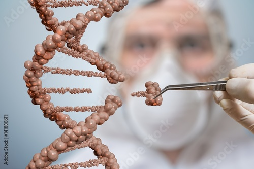 Photo  Scientist is replacing part of a DNA molecule