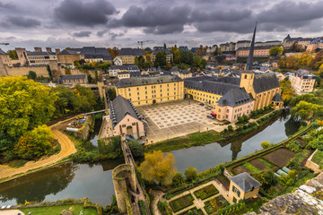 Fototapeta na wymiar Luxembourg City, Luxembourg - October 22, 2016: Neumunster Abbey in Luxembourg City