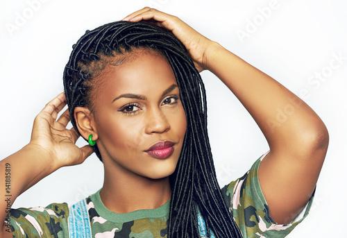 Obraz Gorgeous graceful young African woman - fototapety do salonu