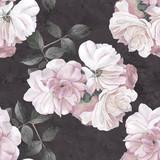 Roses flower watercolor dark seamless pattern - 141887228