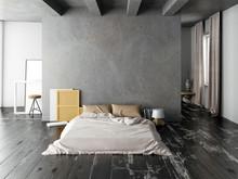 Mock Up Wall In Bedroom Interi...