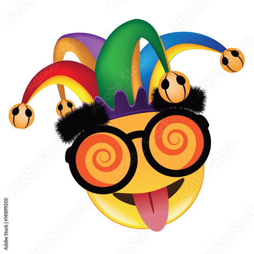 Fotografie, Obraz  April Fools Day jester hat, silly glasses and mustache emoticon design