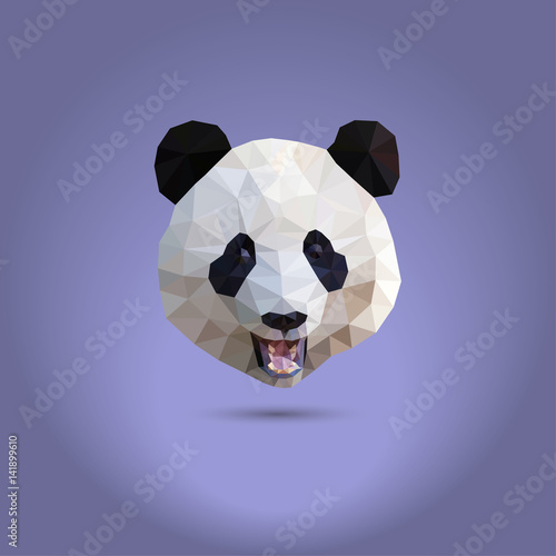 Staande foto Retro sign Low poly panda. The head of a Chinese bear from triangles. Suitable for printing on clothing and t-shirts