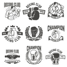 Set Of Boxing Club Labels. Design Elements For Logo, Label, Emblem, Sign. Vector Illustration