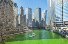Dyeing Chicago River Green On Saint Patrics Day