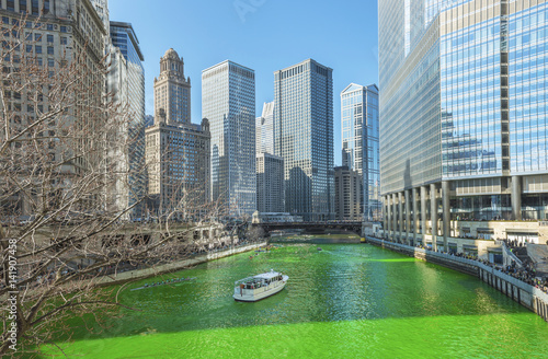 Dyeing Chicago River Green On Saint Patrics Day Wallpaper Mural