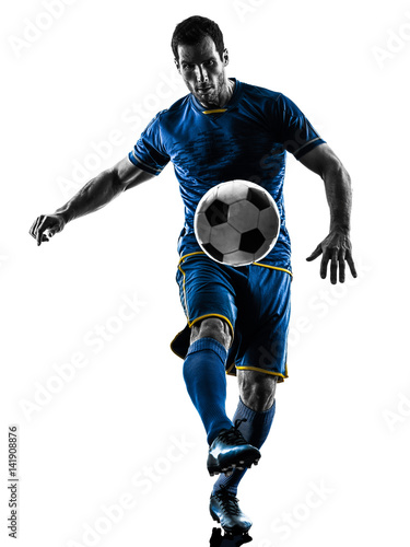 Canvas Prints Fairytale World one caucasian soccer player man playing in silhouette isolated on white background