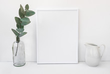 White Frame Mockup, Eucalyptus Branch In Glass Bottle, Pitcher, Styled Minimalist Clean Image For Product Marketing, Social Media
