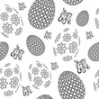Happy Easter seamless pattern with eggs, and handwritten calligraphy. Vector illustration.