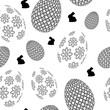 Happy Easter seamless pattern with eggs, rabbit. Vector illustration.