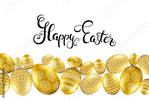 Happpy easter card with handwritten calligraphy lettering and gold eggs pattern Wallpaper Mural
