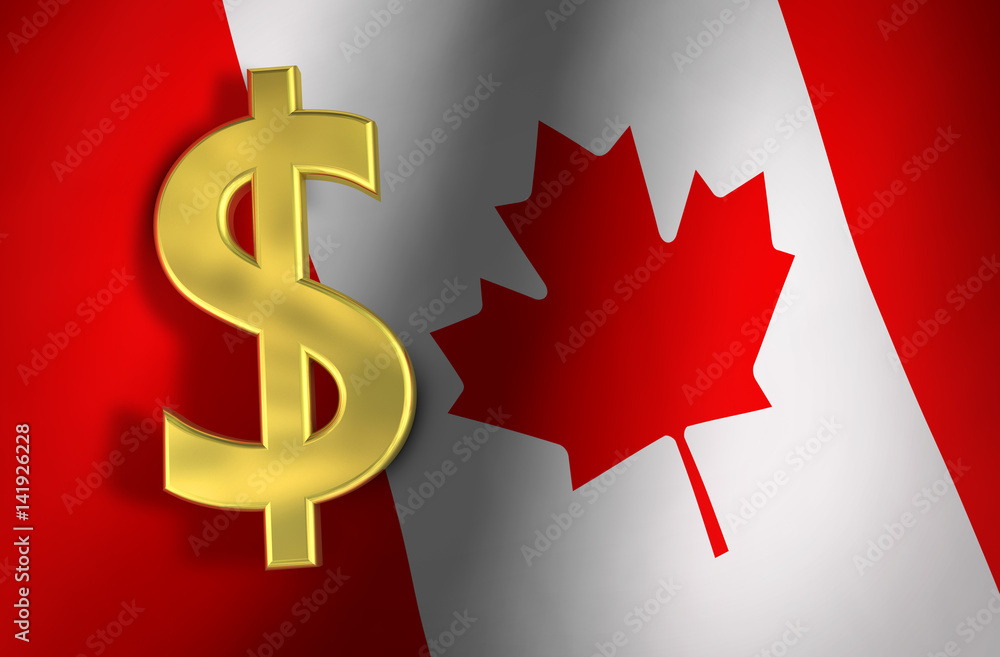 Photo Art Print Canadian Dollar Symbol And Canada Flag Europosters