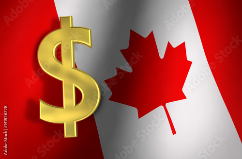Canadian Dollar Symbol And Canada Flag