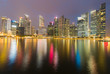 Singapore central business downtown light night view sea front, cityscape downtown background