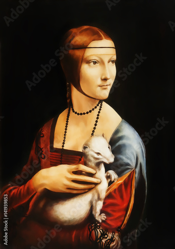 Valokuvatapetti My own reproduction of painting Lady with an Ermine by Leonardo da Vinci