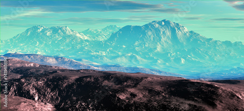 Wall Murals Green coral Misty mountains