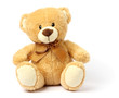 canvas print picture - toy teddy isolated on white background