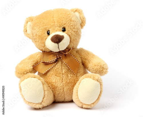 Fotomural toy teddy isolated on white background