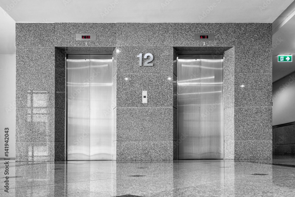 Fototapeta Modern elevator and granite tile., Interior design