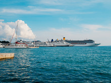 Huge Cruise Liners Are Moored At The Pier In Split, Croatia.