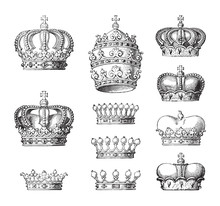 Collection Of Crowns / Vintage Illustration