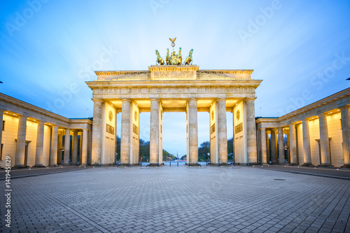Brandenburg Gate at night in Berlin city, Germany Poster